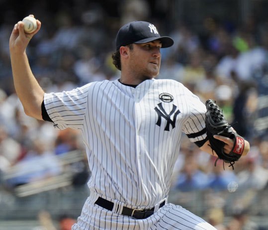 Yankees starter Phil Hughes gave up two runs in the first six innings of the game.