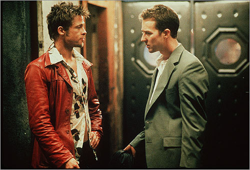 'Fight Club' (1999) We realize we're breaking the first rule of Fight Club by actually talking about Fight Club, but what the heck. The increasingly anti-social main character, played by Ed Norton (pictured, right), is about to be fired when he beats himself up in front of his supervisor, with a plan to blame the supervisor for the beating - unless he continues getting paid as a consultant. As for the rest of the plot... we're not really supposed to talk about it.