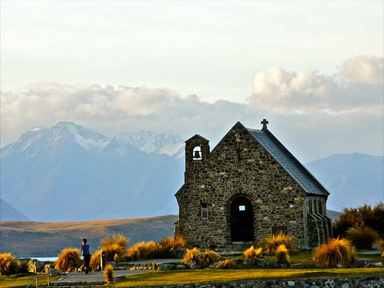 The Church of the Good Shepherd at Lake Tekapu in New Zealand's Southern Alps.