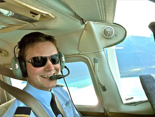 21-year-old Cessna pilot Rupert MacLachlan flies visitors over the New Zealand Alps for spectacular views.