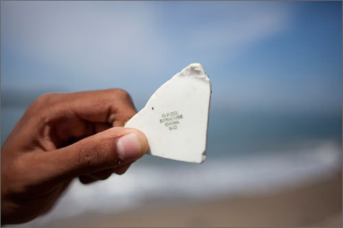"""""""After 50 years, garbage becomes artifacts,'' Berman said. That is why the Spectacle Island beach is a museum of sorts for centuries-old everyday items: It was once covered in garbage, some of which is still churned up by the tide. """"You're not going to find [sea glass] in areas not impacted by industrial waste,'' said city archeologist Ellen Berkland, """"so, yes, this is a prime area for sea glass.''"""