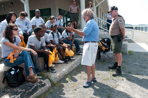 Berman talked to members of the Boston Harbor Islands youth program.