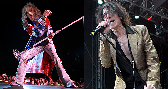 Steven Tyler (left), lead singer of Aerosmith, and Peter Wolf, J. Geils Band front man, performed at Fenway Park on Saturday.