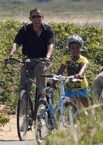 The Vineyard may be known for its laid-back beaches, but it's a haven for those seeking a more active island experience . Two years ago, the president took a bike ride with his daughter Sasha along Lobsterville Beach. Perhaps this year, he'll take up kiteboarding .
