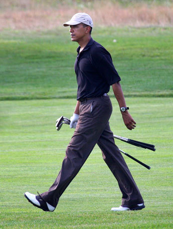 Last year the president got in a round of golf in at Farm Neck Golf Club.