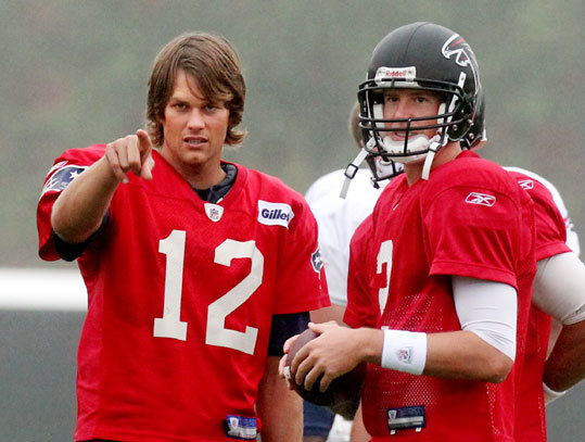 Patriots quarterback Tom Brady (left) and Falcons quarterback Matt Ryan (right) shared a word during a joint practice session in Atlanta.