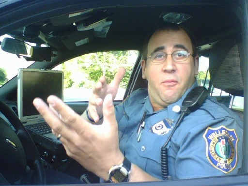 Officer Tim Barros does his best Capt. Kirk.