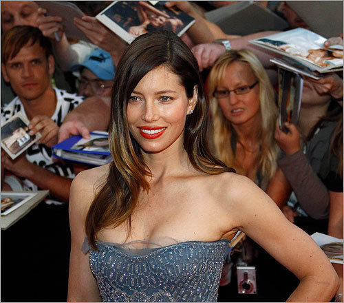 'The A-Team' star Jessica Biel, last year's number one, fell two spots to number three.