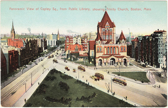 A panoramic view of Copley Square showing Trinity Church.