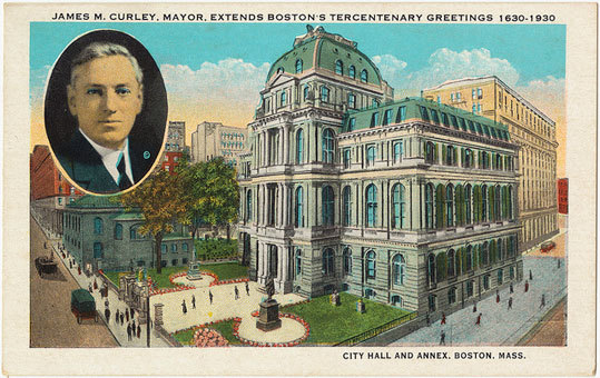 Boston Mayor James M. Curley and the old city hall on a postcard from 1930.