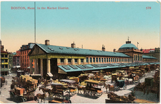 Boston's Market District, today known as Faneuil Hall Marketplace.