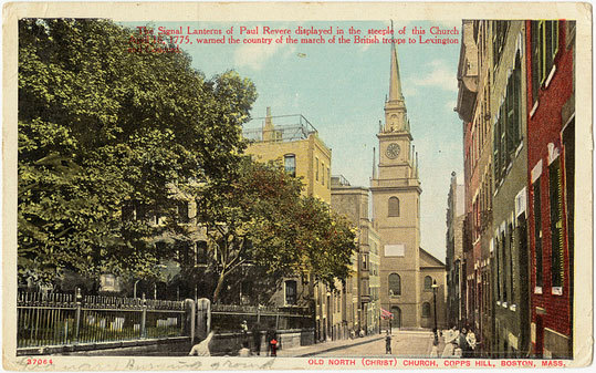 The Old North Church in a postcard stamped in 1910.