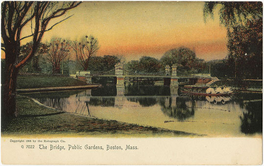 The Public Garden doesn't look remarkably different than it did in this postcard image from 1905.