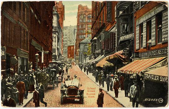 A bustling School Street in downtown Boston.