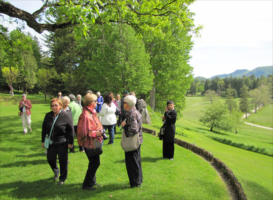 Members of the group take in the view at the grounds and house of Naumkeag, the 44-room summer retreat of Joseph Hodges Choate in Stockbridge.
