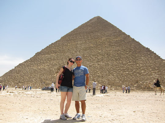Sebastien and Stephanie at the great pyramid of Giza, Cairo, Egypt.