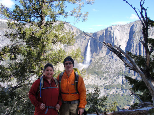 Chris and Conce Goodwin enjoyed a hike at Yosemite National Park (with Yosemite Falls in the background).