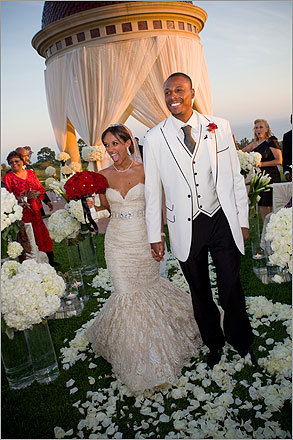 Julie Landrum Pierce Celtics star Paul Pierce was photographed when he married Julie Landrum (pictured).