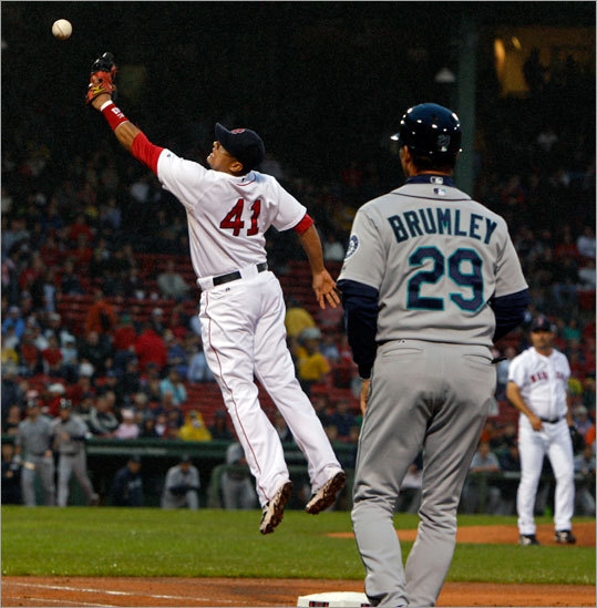 The Mariners scored in the first inning after starting pitcher Tim Wakefield threw over first baseman Victor Martinez's head attempting to throw out Ichiro Suzuki on a comebacker to the mound. Suzuki went to second on the play, then later scored on Russell Branyan's groundout to first.