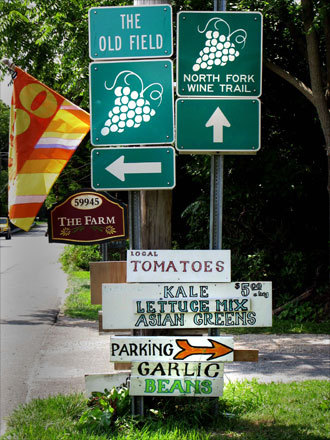 Signs point the way to wineries and farmstands on Long Island's North Fork, one of the world's most promising new wine regions. Easily reached via by ferry from New London, Conn., the region is perfect for a ''Sideways'' road trip from New England.