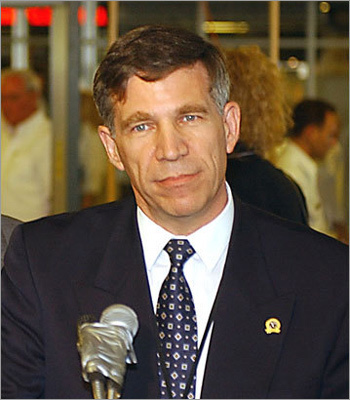 June 2002: The first TSA employee arrives at Logan, federal security director George Naccara, who now oversees a staff of 1,100. August 2002: State legislature establishes a buffer zone that keeps boats 250 feet from Logan Airport grounds. Left: Nacarra during a 2002 press conference.