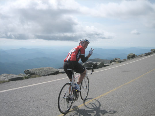 Summer is a lot more than sandy beaches and sunburns. It's a prime opportunity to get out and explore all that the mountains, rivers, lakes, and forests have to offer. Check out how Boston.com readers spent their summer and submit your own outdoor adventure photo. Laurel Ainslie near the summit during the Mt. Washington Hillclimb on Aug. 21. 'At this point in the ride I told her she should slow down so I could try to stay up with her on foot,' sister Heather writes. 'It was at this point she gave me the 'Peace Out' sign and made it to the finish in 1:35. She's my hero.'
