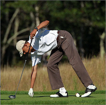 The president got another round of golf in at the Vineyard Golf Club in Adgartown, Mass. on the family's final full day of vacation on Martha's Vineyard.