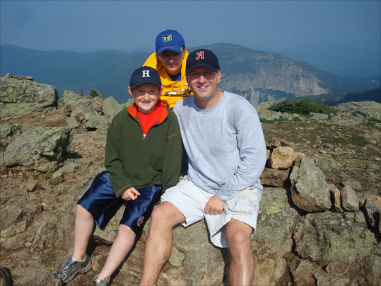 Mark also took Joseph (left) and Will (middle) to the top of Mount Lincoln in Franconia Notch, New Hampshire.