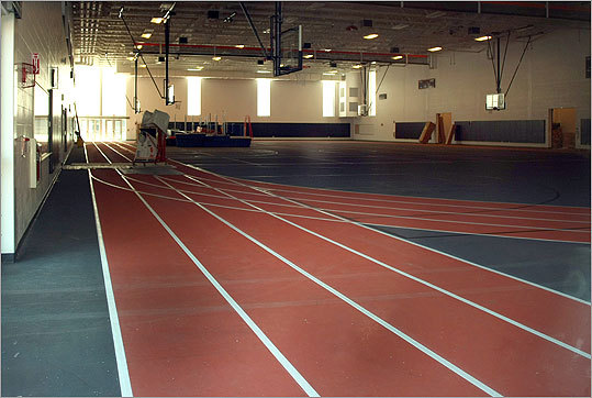At left, the indoor track with basketball courts.