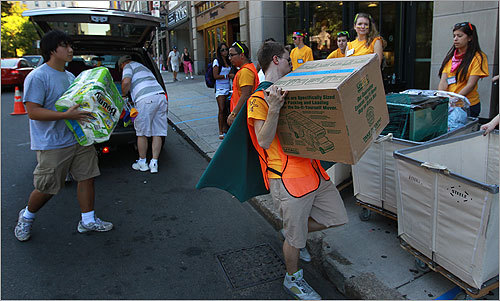 On moving day at Emerson, it wasn't unusual to see students wearing capes while helping others move.