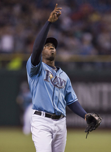 Rays closer Rafael Soriano closed out the Red Sox in the ninth inning for his 39th save of the season.