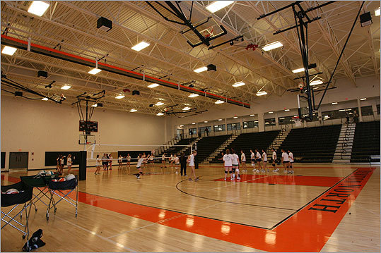 An image of the main Newton North gym. Gauri Sharma, a senior who manages the schools cross country team, said: 'I love how all the athletic facilities are so accessible and close together. We used to be spread all over town. I think having all the teams in one place will increase school spirit, because people will be able to see us and come to the games easily.'
