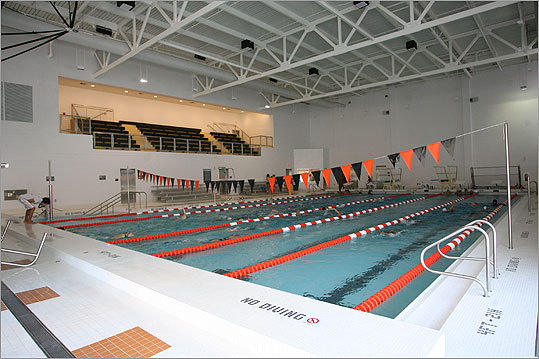 A view of the school's swimming pool, which is 25 yards long, with six lanes.