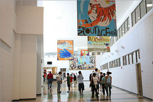 Students and visitors walked the corridors of the school after its unveiling on Aug. 31, 2010.