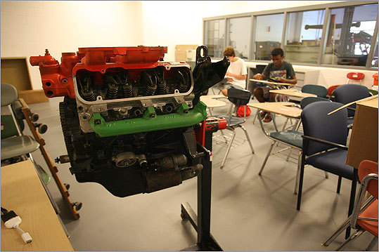 Students visited the auto body shop, one of the many vocational-technical facilities in the building.
