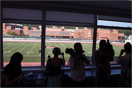 From the new press box overlooking the football field, the old high school can be seen in the distance.