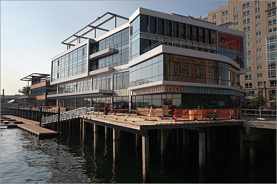 The new Liberty Wharf complex on the South Boston Waterfront is everything its predecessor was not: sleek, open, and inviting.