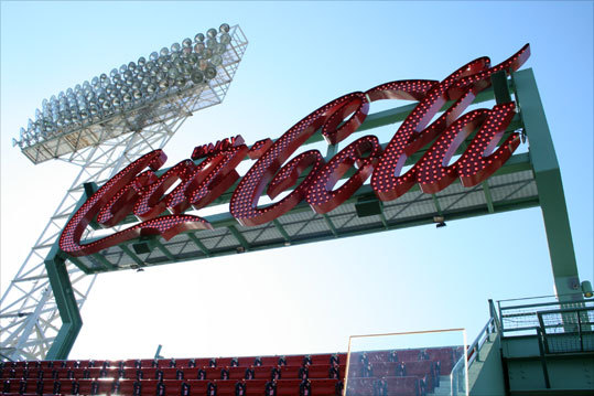 The Coca Cola sign in left field