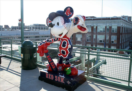 Mickey Mouse statue by pavilion deck in left field