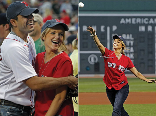 "Williamstown-bred ""Bachelorette"" Ali Fedotowsky throws out the first pitch at Fenway."