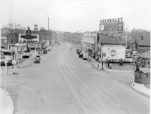 'The way we live is determined how we get from here to there. Route 9 has developed, has defined, the way we live,' Barrera said. Brookline Village in the 1930s looking west on Route 9, from the intersection at Pond Ave. The fire department tower is pictured in the background on the left.