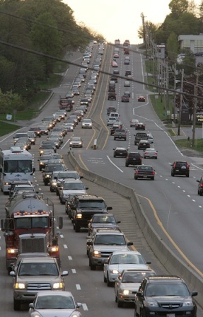 But with that choice has come more traffic and congestion concerns in those communities. Eastbound Route 9 traffic backed up at 7 p.m. in 2007, as seen from an overpass on Route 85. An accident earlier that day closed the Mass Pike and forced evening commuters to find alternate routes.