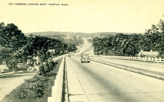 Looking west on Route 9 from Newton toward Wellesley in the 1930s.