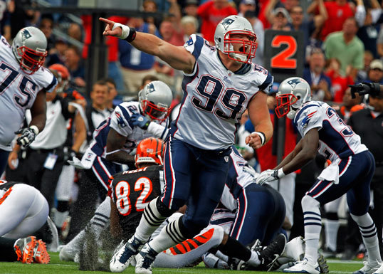 Patriots DL MIke Wright led the celebration following teammate Rob Ninkovich's first-quarter recovery of a Bengals fumble.