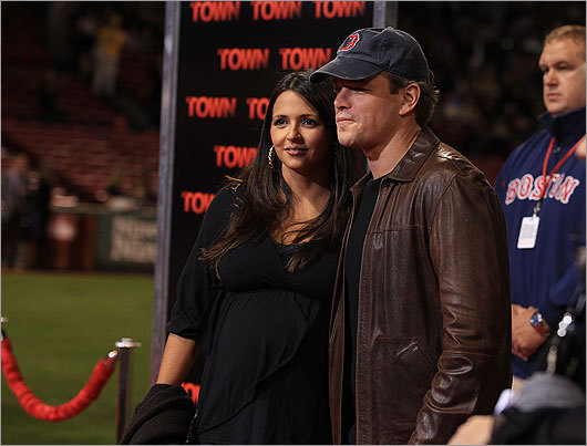Sept. 14 / Fenway Park Matt Damon and his wife, Luciana Barroso, who is pregnant, stopped for photographers.