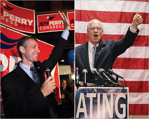 State Representative Jeffrey D. Perry, left, won the Republican nomination for the open 10th Congressional District seat. He will face Norfolk District Attorney William R. Keating, right, who won the Democratic nomination. Scroll through to see scenes from the polling stations and candidates' speeches. Read more of our election coverage.