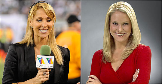NESN's Heidi Watney, right, misspoke when commenting on a WZLX radio show about the controversy surround the New York Jets and female reporter Ines Sainz, left.