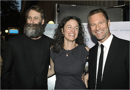 From left, director Jim Eckhart with his girlfriend, Debbie Lynn, and executive producer Aaron Eckhart.