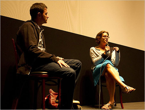 From left, directors Ryan Fleck and Anna Boden held a Q&A with the audience after their film 'It's Kind of a Funny Story' was shown Sept. 19.