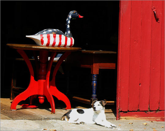 In many of Woodbury's antiques shops, a friendly dog is the first greeter.